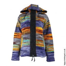 Multicoloured High Neck Wool Jacket