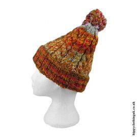 Orange-Multifleck-Wool-Bobble-Hat