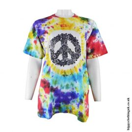 Peace-Sign-Printed-Pattern-Tie-Dye-T-Shirt