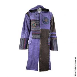 Purple-Long-Fleece-Lined-Patchwork-Jacket