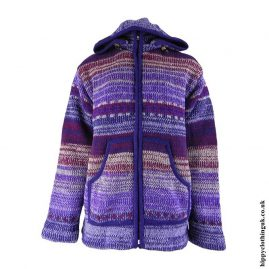 Purple-Wool-High-Neck-Hooded-Jacket