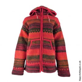 Red-Wool-High-Neck-Hooded-Jacket
