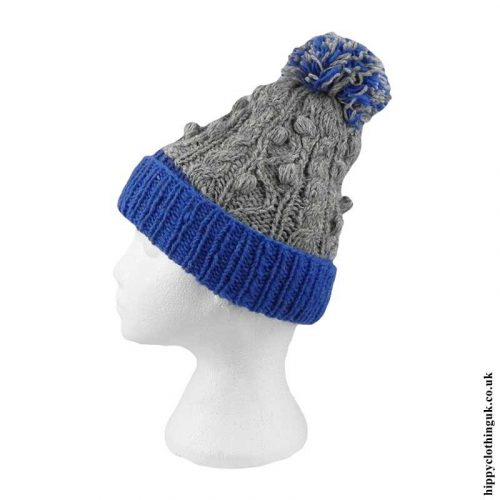 Blue-&-Grey-Cable-Knit-Wool-Bobble-Hat