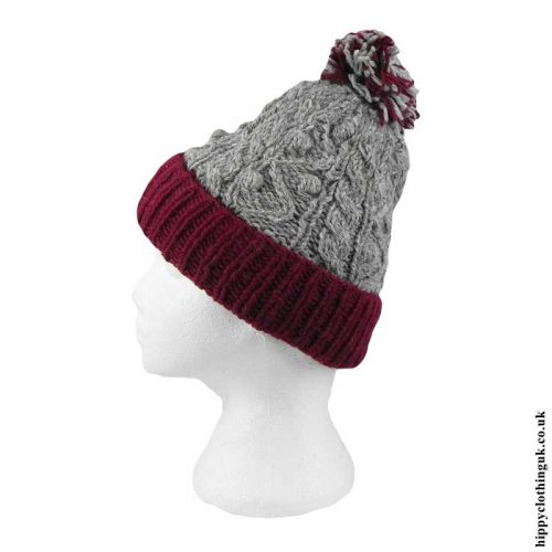 Burgundy-&-Grey-Cable-Knit-Wool-Bobble-Hat