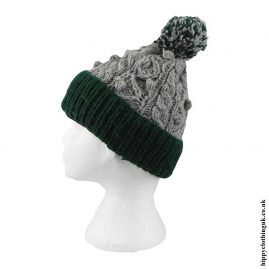 Green-&-Grey-Cable-Knit-Wool-Bobble-Hat
