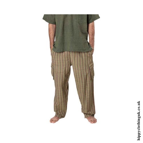 Striped Nepalese Cotton Hippy Trousers