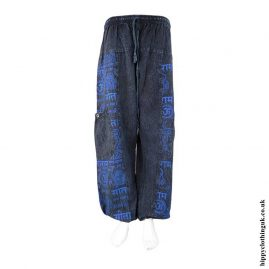 Blue-Printed-Pattern-Hippy-Trousers