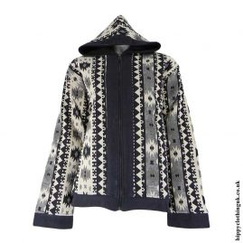 Cream-&-Grey-Geometric-Patterned-Hippy-Jacket