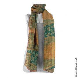 Orange-&-Green-Recycled-Sari-Scarf