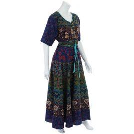 Blue-Long-Cotton-Hippy-Throw-Dress