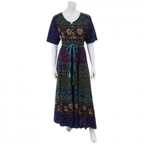 Blue-Long-Cotton-Hippy-Throw-Dress---Front