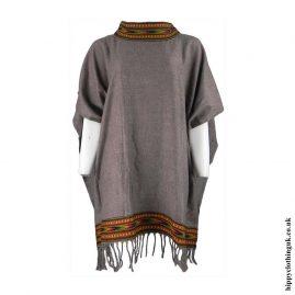 Brown-High-Neck-Acrylic-Wool-Poncho
