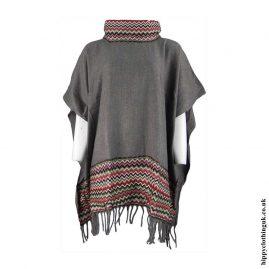 Grey-High-Neck-Acrylic-Wool-Poncho