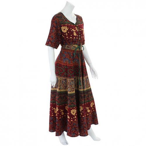 Red-Long-Cotton-Hippy-Throw-Dress