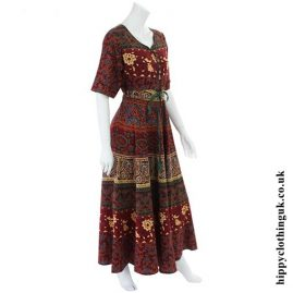 Red Long Cotton Hippy Throw Dress