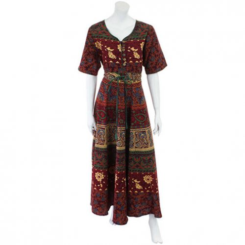 Red-Long-Cotton-Hippy-Throw-Dress---Front