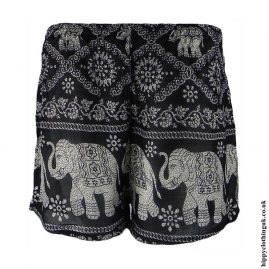 Black-Ladies-Elephant-Print-Hippy-Shorts