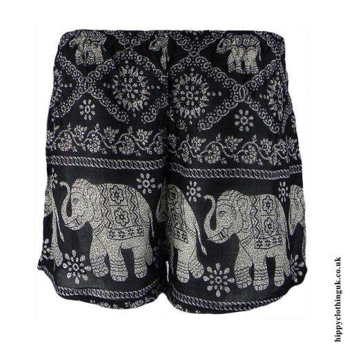Black-Ladies-Elephant-Print-Hippy-Shorts