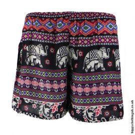 Black-Mix-Ladies-Elephant-Print-Hippy-Shorts