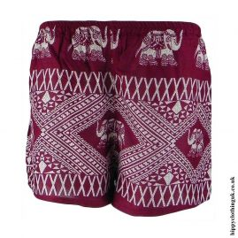 Burgundy-Ladies-Elephant-Print-Hippy-Shorts