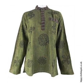 Green-Grandad-Shirt-with-Printed-Patterns