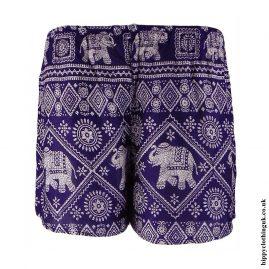 Purple Ladies Elephant Print Hippy Shorts