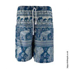Thai-Male-Hippy-Rayon-Long-Shorts-Teal