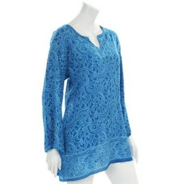 Turquoise-Flower-Print-Tunic