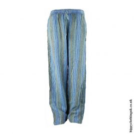 Turquoise-Striped-Cotton-Hippy-Trousers