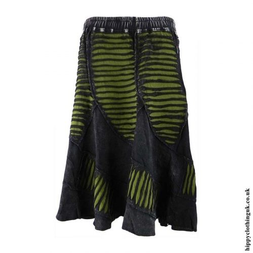 Black-&-Green-Ripped-Effect-Skirt