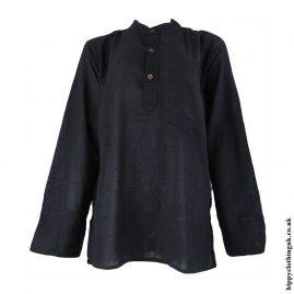 Black-Plain-Grandad-Shirt
