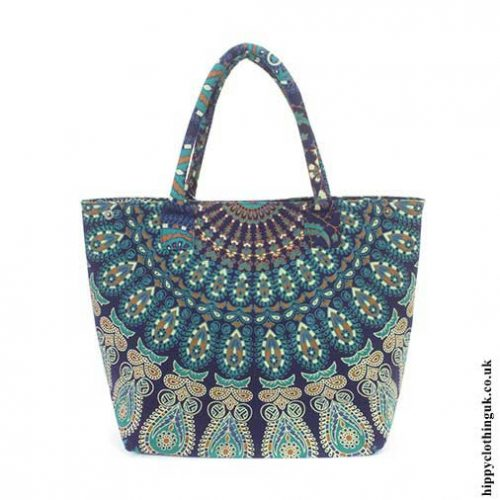Blue-Peacock-Beach-Bag-Open