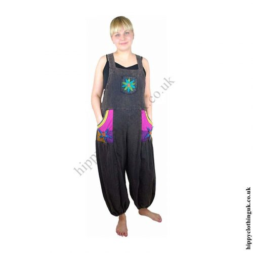 Hippy-Dungarees-with-Flower-Design-Example