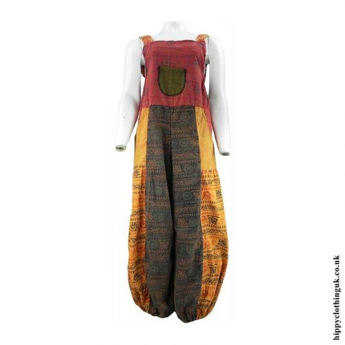 Multicoloured-Hippy-Patchwork-Om-Dungarees
