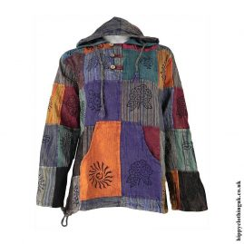 Multicoloured-Hooded-Patchwork-Shirt