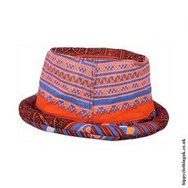 Orange-Thai-Multicoloured-Patchwork-Hippy-Rimmed-Hat