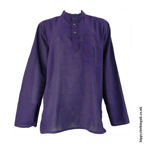 Purple-Plain-Grandad-Shirt