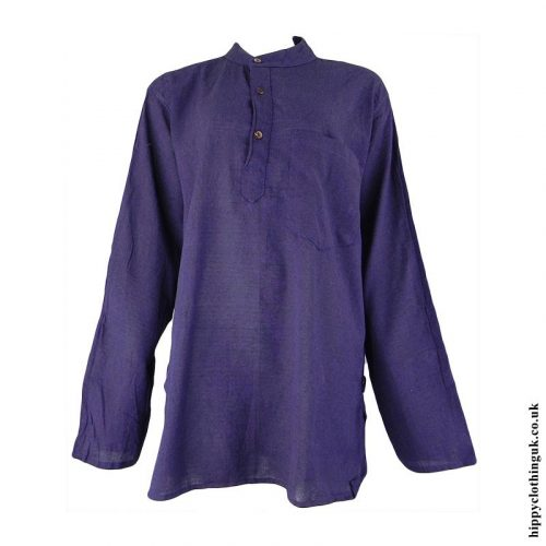 Purple-Plain-Grandad-Shirt