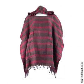Red-Acrylic-Striped-Poncho