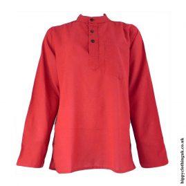 Red-Plain-Grandad-Shirt