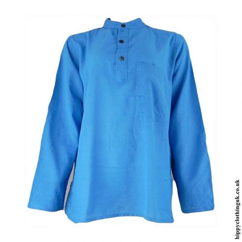 Turquoise-Plain-Grandad-Shirt