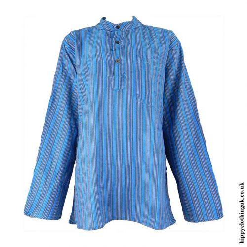 Turquoise-Striped-Grandad-Shirt