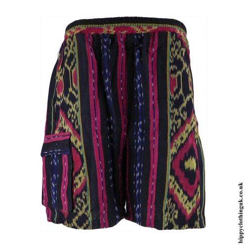 Yellow-and-Black-Woven-Long-Shorts