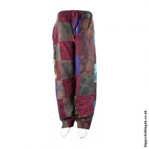 Multicoloured-Patchwork-Patterned-Hippy-Trousers