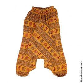 Orange-Om-Print-Ali-Baba-Harem-Trousers