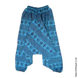 Turquoise-Om-Print-Ali-Baba-Harem-Trousers