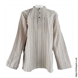 Beige-Cream-Nepalese-Cotton-Striped-Grandad-Shirt