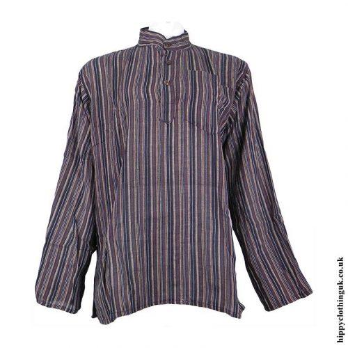 Brown-Nepalese-Cotton-Striped-Grandad-Shirt