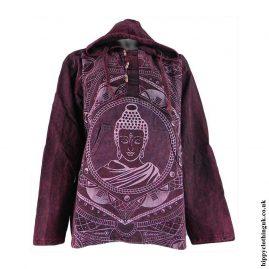 Burgundy-Printed-Buddha-Hooded-Top
