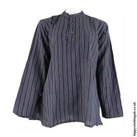 Charcoal-Nepalese-Cotton-Striped-Grandad-Shirt